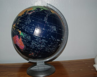 Vintage Replogle 12 inch Midnight Globe with silver plastic base ~ Very Good Condition