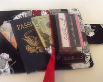 Dollbirdies Passport Wallet with ID Window and Zipper Pocket