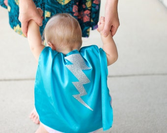 Baby or Toddler Bolt SUPERHERO CAPE - Baby Costume - Ships Fast - Lightning bolt cape - 6 color choices - Photo prop