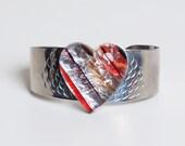 Vintage 70s Lucite Rainbow Cuff Heart Jewelry Vintage Bracelet