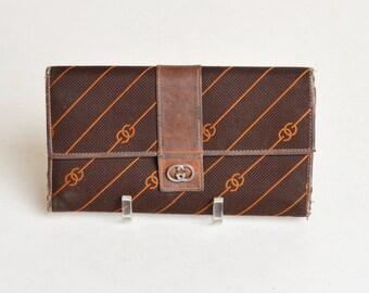 Vintage 70s Gucci Brown Canvas Monogram Checkbook Wallet