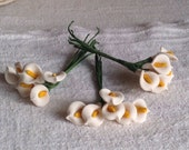 Vintage Millinery Flowers 3 Bouquets White Lillies / Hats & Fascinators Vintage Wedding Something Old / Ceramic Flowers