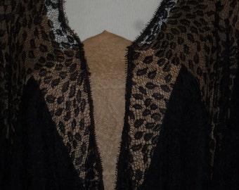 Vintage 20s 1920s 30s 1930s Black Lace Dress Drop Waist Long Sleeve Draped Flapper Dress Nude Accents L Large
