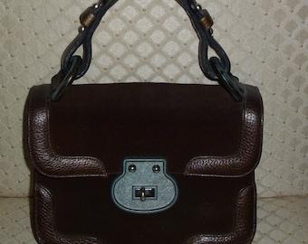 Vintage 60s 1960s 70s 1970s Roger Van S. Brown Suede Handbag Pebble Leather Handle Pewter Metal Purse