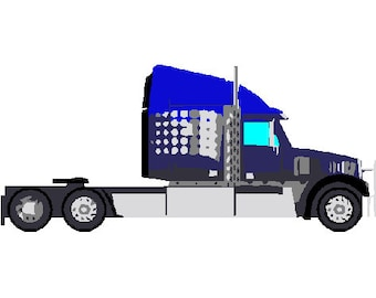 Tractor trailer truck digital embroidery design