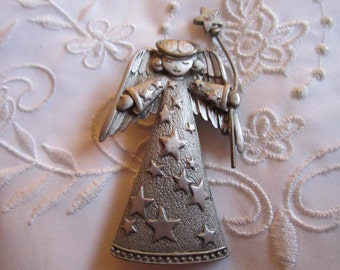Vintage Pewter Angel Brooch Holding a Wand with Iridescent Rhinestone by JJ