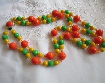 Vintage Orange, Green and Yellow Glass and Plastic Double Strand Necklace from Japan