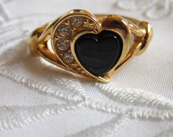 Vintage Gold Tone Faux Black Onyx Avon Ring with Clear Faceted Rhinestones