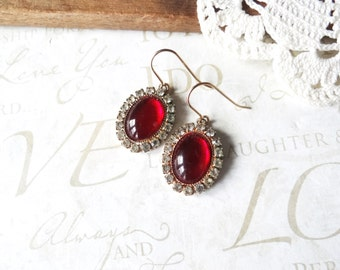 DOROTHY vintage ruby and rhinestone oval drop earrings | sensitive ears | vintage | gold | dangle | glamour | dazzle | french earwires