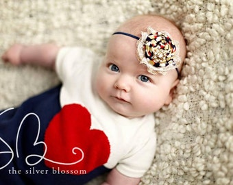 Gild Out- navy gold and red polka dot rosette with lace headband  bow
