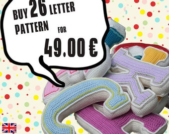 Special Deal - The Full Alphabet-  Buy all 26 crochet letter pattern, PDF in English, Deutsch