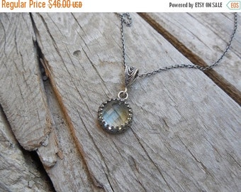 ON SALE Prehnite necklace in sterling silver