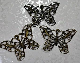 Antique brass butterfly pendant, 50mm, #778