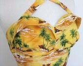 SPECIAL SUMMER OFFER custom made vintage bustier, sun top, Hawaii fabric