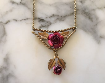 Gold Tone Red Rose Neckace . Floral Flower . Costume Jewelry