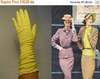 ON SALE 30% OFF Shockingly Bright Dreams - Vintage 1950s Bright Yellow Long Nylon Ruched Gloves - 7-8