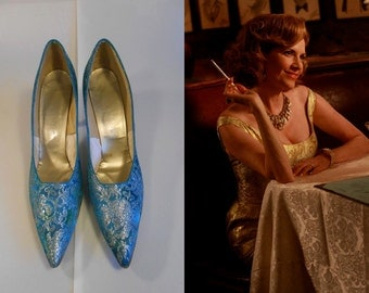 Bobby Barratte for Cocktails  - Vintage 1960s Turquoise Silver Tapestry Pointed Heels Stilettos - 9