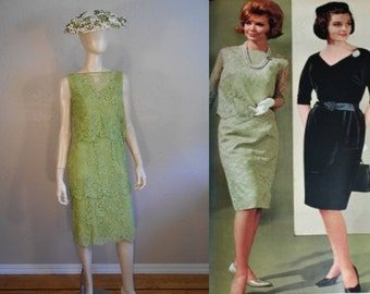 Apple Blossom Events - Vintage 1960s Crisp Apple Green Lace Tiered Sheath Dress  - 4