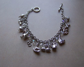 Silver with AB Crystal Charm Bracelet