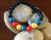 Essential Oil Diffuser Bracelet, Autism Awareness Diffusing Lava Bead Stretch Bracelet, Diffuser Beads, Natural Healing Bracelet, Diffuser J