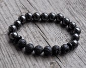 Childrens Essential Oil Diffuser Bracelet - Hematite Beads - Diffusing Lava Bead Stretch Bracelet - Sensory Bead Bracelet