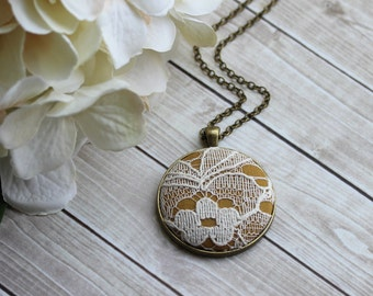 Mustard Yellow Necklace, Mustard Yellow Bridesmaid Jewelry, Floral Boho Necklace, Cotton, Anniversary Gift, Fabric, Ivory Lace Necklace