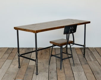 Reclaimed wood desk with modern industrial pipe legs in choice of sizes or finishes