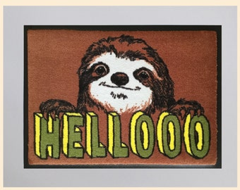 Hello Sloth Welcome Mat
