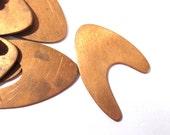 Copper Pieces Enameling Supplies Twenty (20) Retro Boomerang Stamping Blanks Engravable COPPER 18 Gauge Enamel Jewelry Supplies (J173)