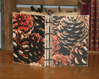 Fall Pinecone Coptic Journal, handmade diary, hostess gift, Winter wedding guestbook, Notebook, autumnal guest book, journal