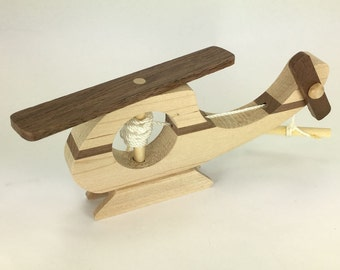Helicopter that spins - made from maple and walnut, handmade wood toy - TM021W