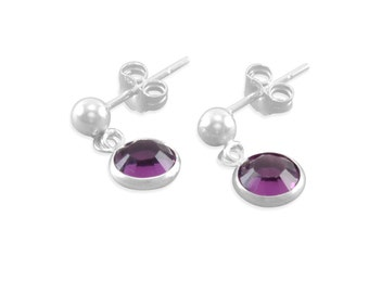 Little Girls Earrings, Sterling Silver purple February birthstone, flower girl jewelry small studs amethyst dangles posts, young girls gifts