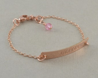 Rose Gold ID Bracelets, engraved, 14k yellow gold, stamped sterling silver, toddler jewelry, name bracelets birthday gift birthstone, KATE