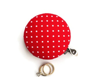"Large 2.5"" Size Red with White Polka Dot Print Macaron Pouch, Macaron Coin Purse Macaron Zipper Pouch, Wedding Ring Box, Macaroon Coin Purse"