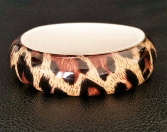 Vintage Resin Bold Leopard Print Bangle Bracelet