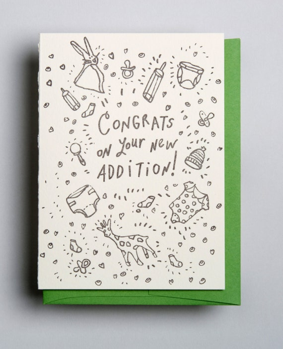 Letterpress greeting card, Congrats on your new addition!