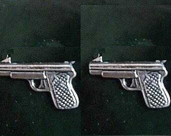 9 Milimeter Caliber Pistol Gun Stud Earrings  Sterling Silver Free Domestic Shipping