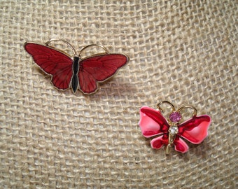 1960s Pink and Red Enameled Butterfly Pins.