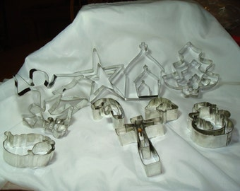 All Metal 24 Piece Set of Christmas Winter Cookie Cutters.