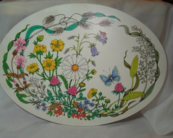1970s Melamine Clover Leaf Product Footed Butterfly with Wildflowers Trivet Hot Plate Casserole Stand.