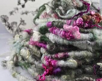 Handspun Art Yarn Corespun Fleecespun Uncarded Coopworth and BFL Lamb Locks 'Posie Popup'