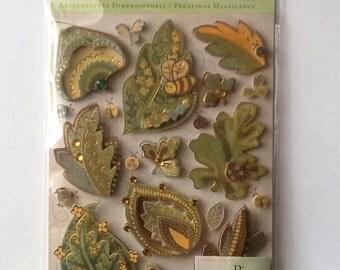 K&Company Wild Saffron Leaves Grand Adhesions Stickers 22pcs