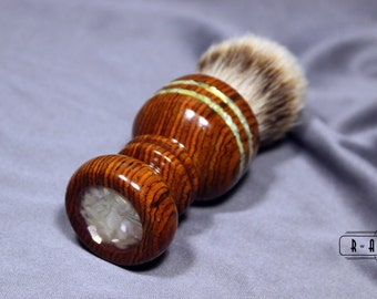 Shaving Brush Cocobolo Wood Silvertip Badger Hair Brush with Mother of Pearl Inlay Graduation Father's Day Gift Wet Shaving Ready2Ship