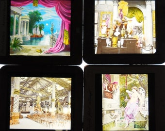 4 Antique glass Slides Classical art Architectural Buildings Art museum Romance boats lagoon wood frame photos magic lantern