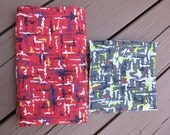 2 Pieces Vintage Abstract Barkcloth Prints, Red and Gray Colorways, 1950s