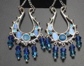 Swarovski Turquoise and Blue Beaded Dangle Earrings