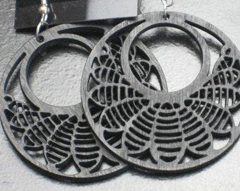 Black Painted Wood Laser Earrings