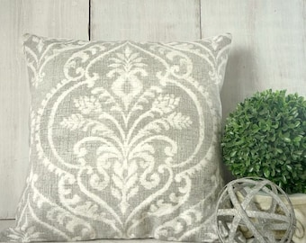 Light Silver Gray Damask Pillow Cover - Paris Cottage Chic