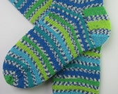 womens wool socks, UK 5-7 US 7-9, blue green striped socks, patterned socks, hand knitted wool socks, ladies socks, made from british yarn