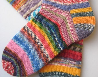 hand knitted womens wool socks, UK 5-7 US 7-9